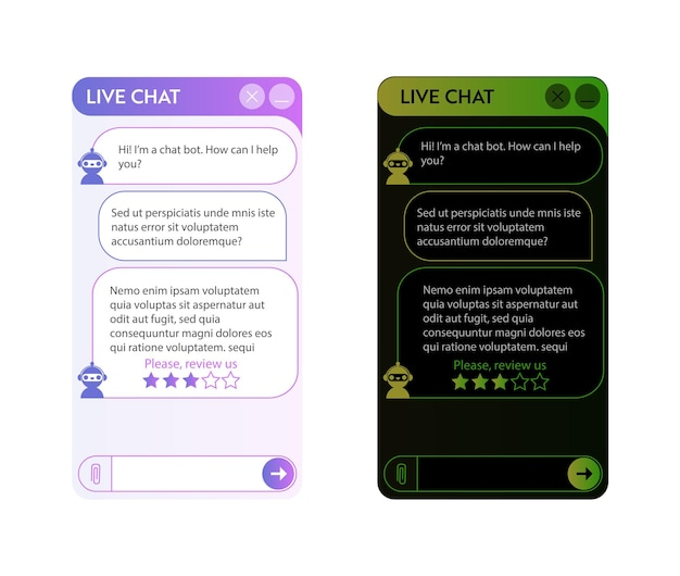 Chatbot window. dark and light mode. user interface of application with online dialogue. conversation with a robot assistant