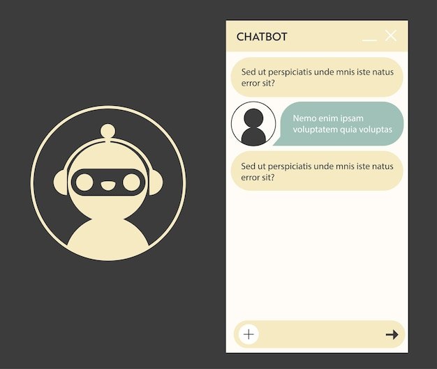 Chatbot window with robot icon. user interface of application with online dialogue. conversation with a robot assistant
