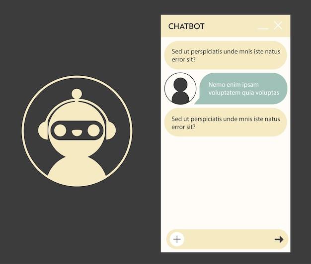 로봇 아이콘이 있는 챗봇 창. 온라인 대화가 있는 응용 프로그램의 사용자 인터페이스. 로봇 어시스턴트와의 대화
