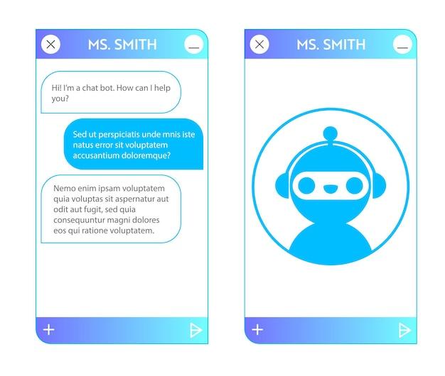 시작 페이지가 있는 챗봇 창. 온라인 대화가 있는 응용 프로그램의 사용자 인터페이스. 로봇 어시스턴트와의 대화