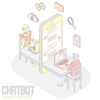Приложение chatbot изометрическое