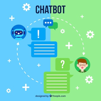 フラットスタイルのchatbotコンセプト背景