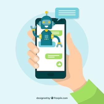 Концепт концепции chatbot с мобильным устройством