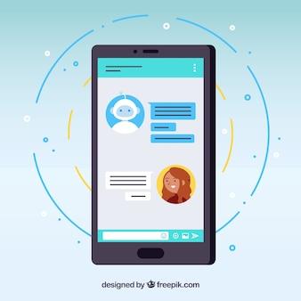 Концепт концепции chatbot с мобильным телефоном