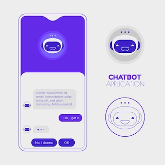Chatbotモバイルアプリのコンセプト。トレンディなフラットデザインのベクトル図
