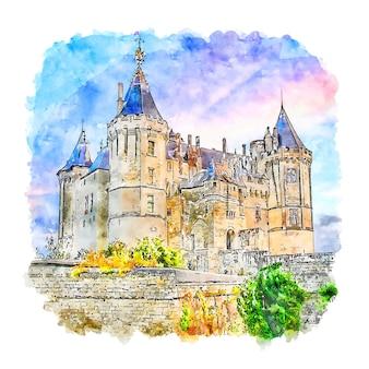 샤토 드 saumur 성 프랑스 수채화 스케치 손으로 그린 그림