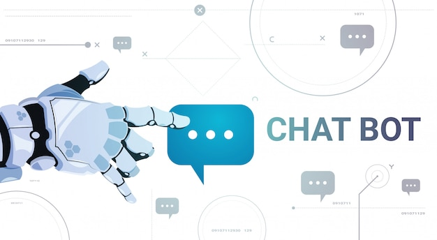 Chatter service app concept robot hand touch chat bubble template banner with copy space, chatterbot technical support technology concept