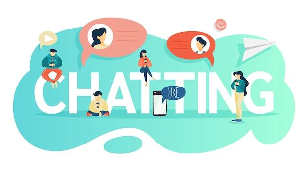 Концепция беседы. люди общаются с помощью мобильного телефона и социальных сетей. концепция современной технологии. иллюстрация