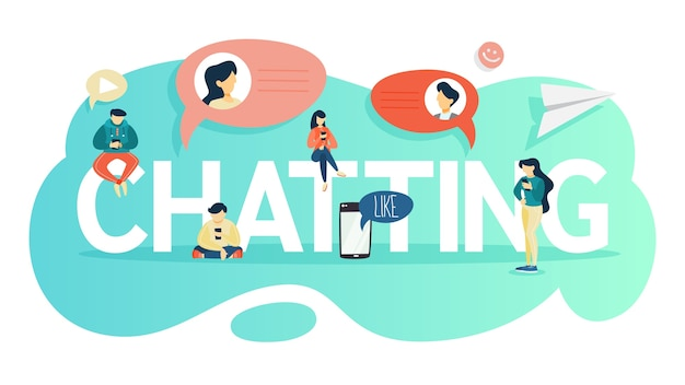 Chatting concept. people chat using mobile phone and social network. modern technology concept.   illustration