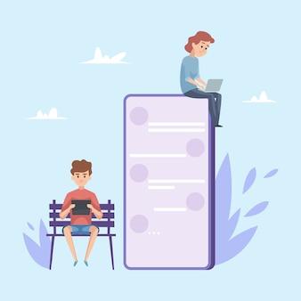 チャットのコンセプトです。若い男の子と女の子がオンラインで会話しています。ノートパソコンとスマートフォンの漫画キャラクターのティーンエイジャー