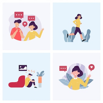 Chatting, greeting, exercising and depression in concept illustration   set