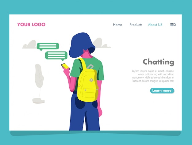Chatting illustration for landing page