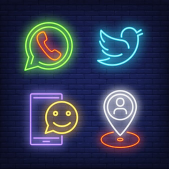 Chatting neon sign set. telephone, speech bubble