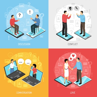 Chatting people isometric characters concept
