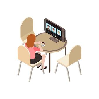 ビデオ会議を実行しているコンピューターでテーブルに座っている労働者と人々の等尺性の構成をチャット