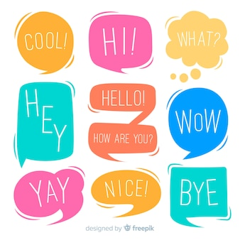 Chatting phrases on colourful speech bubbles collection
