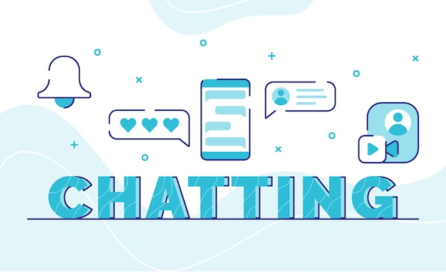 Chatting typography word art background of icon bell emoticon bubble chat video call global with outline style