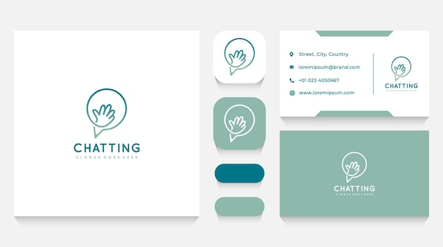 Chatting with hand logo template and business card