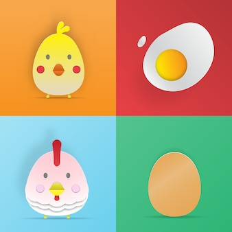 Chcken 및 계란 종이 아트 스타일 3d 벡터 일러스트 레이 션 세트