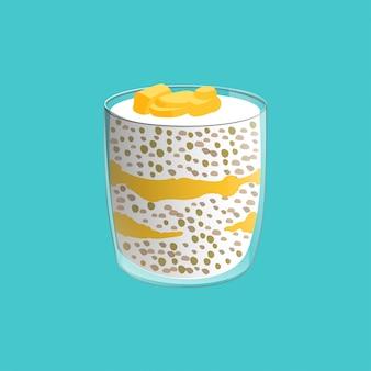 Чеа семян пудинг. здоровая веганская закуска в стекле. иллюстрация, изолированных на синем фоне.