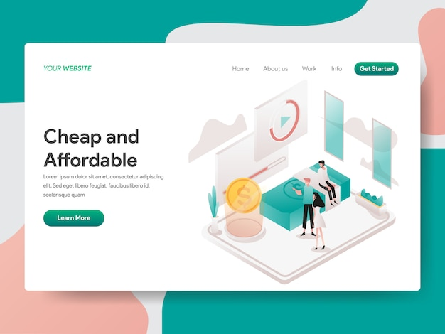 Cheap and affordable isometric for website page