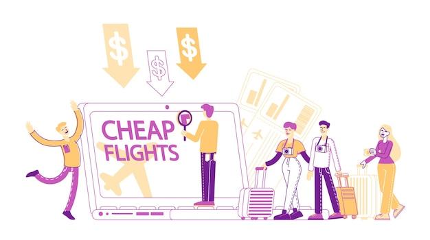 저렴한 비행 및 휴가 예산 개념 절약