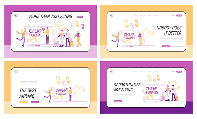 Набор шаблонов целевой страницы для дешевых перелетов и экономии на отпуске