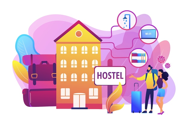 安い旅館、手頃な価格のゲストハウス。大学の寮、モーテルのチェックイン。ホステルサービス、低価格の宿泊施設、最高のホステル施設のコンセプト。