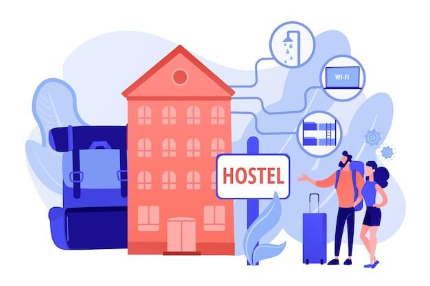 저렴한 여관, 저렴한 게스트 하우스. 대학 기숙사, 모텔 체크인