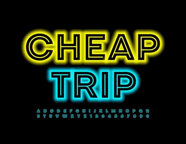 저렴한 여행 크리에이 티브 네온 글꼴 트렌디 한 알파벳 문자와 숫자 세트