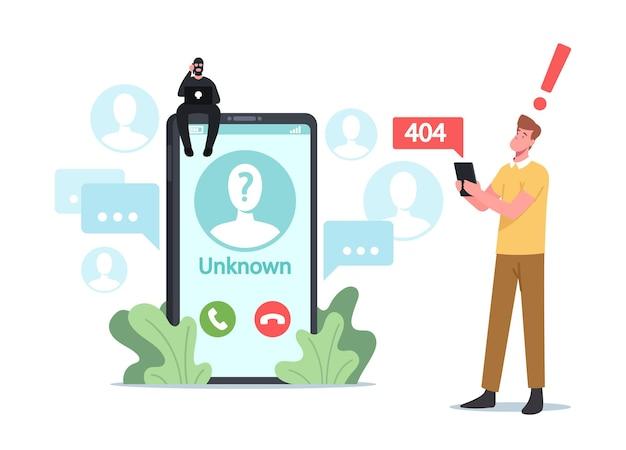사기꾼 장난, 사기 활동 개념. 알 수 없는 번호에서 구독자에게 거대한 스마트폰 전화를 걸고 앉아 있는 작은 사기 캐릭터
