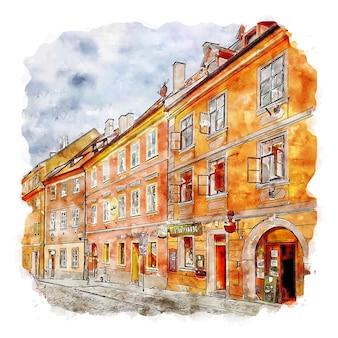 Cheb 체코 공화국 수채화 스케치 손으로 그린 그림