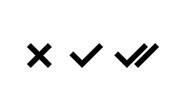 黒のチェックマークと十字アイコン。はい、いいえの記号。ベクトルeps10。白い背景で隔離。