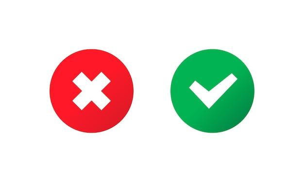 チェックマークとクロスマークのアイコン。概念を承認または拒否します。アプリやウェブサイト用。ベクトルeps10。白い背景で隔離。