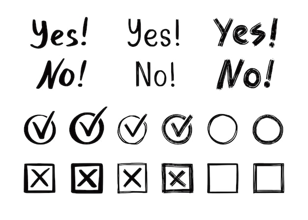 확인 및 교차 표시 세트. 손으로 그린 낙서 스케치 스타일. 투표, 예, 그려진 개념이 없습니다. 확인란, 상자가 있는 십자 표시, 원 요소. 벡터 일러스트 레이 션.