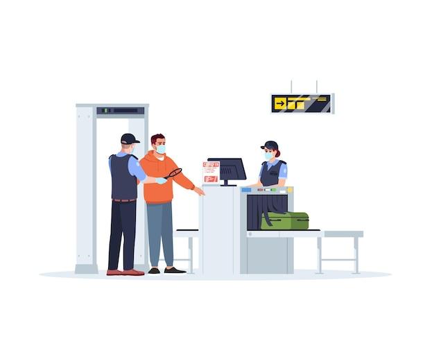 飛行機に搭乗する前に、セミフラットrgbカラーベクトルの図を確認してください。パンデミック時のセキュリティ国境管理。女性は手荷物をチェックします。空港のスタッフは白い背景の上の漫画のキャラクターを分離しました