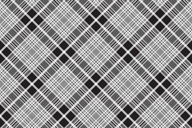 Check black white plaid seamless pattern