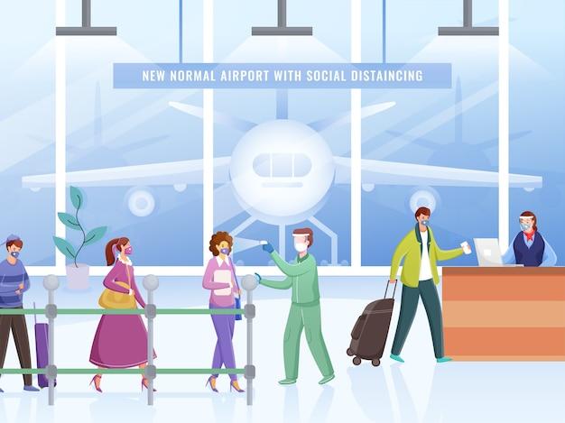 旅行者のサニタイズで空港に入る前に体温をチェックしてください。コロナウイルスのパンデミックを避けるために、受付カウンターの前で社会的距離を保ちます。
