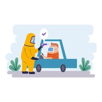 Проверьте температуру тела водителя и человека в защитном костюме
