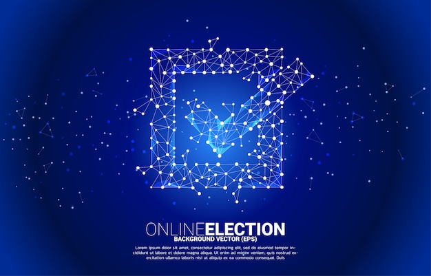 Check box icon from dot connect line polygon network. concept for election vote