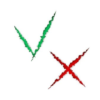 チェックボックスリストアイコンの目盛りとクロス、緑と赤のマークは、白い背景で隔離の引き裂かれた破れた紙です。図