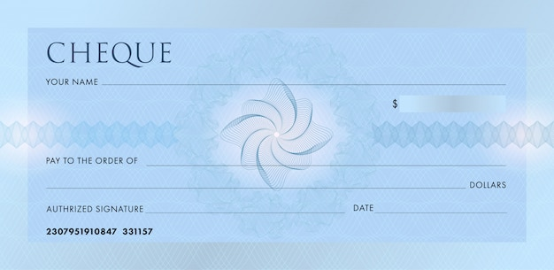 Check or chequebook template. blank blue business bank cheque with guilloche pattern rosette and abstract watermark.