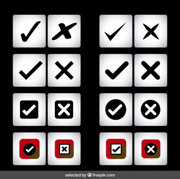 Check and cross icons collection
