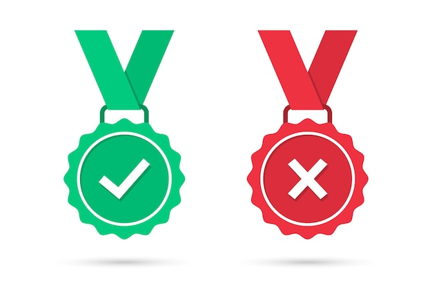 Check and cross medal icons in a flat design. green approved and red rejected medal badge with shadow. set of certified medal icons. vector illustration