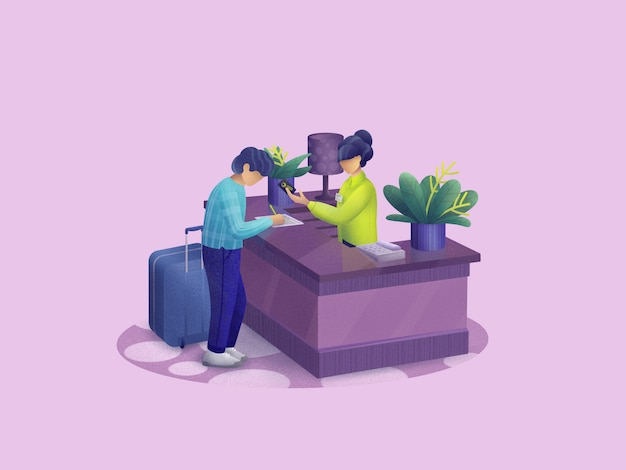 Check-in hotel. hotel reception desk. hotel booking