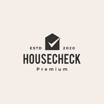 Check house  vintage logo  icon illustration