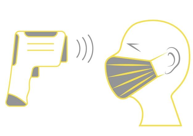 비접촉 적외선 온도계를 사용하여 인체의 온도를 확인합니다. 온도 스캔 기호입니다. 얼굴에 마스크. 코로나 바이러스 예방. 의료 infographic 요소입니다. 벡터 일러스트 레이 션