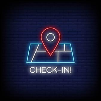 Check in неоновая вывеска