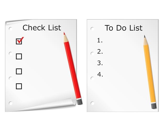 확인 목록 및 할 일 목록