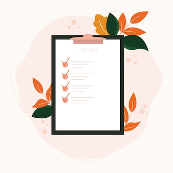 Check list on clipboard paper with botanical elements.successfully complete assignments concept.